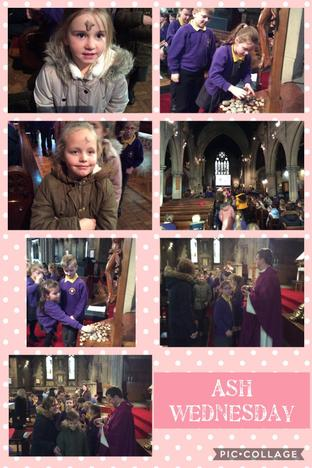 Year 5 helped Father David with the ashes.