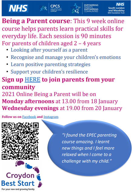 BEING A PARENT COURSE - SPRING 2021