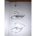 This image includes the initial sketch eye shape.