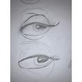 Sketching a female eye.