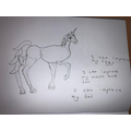 A draft of a unicorn with self evaluation.