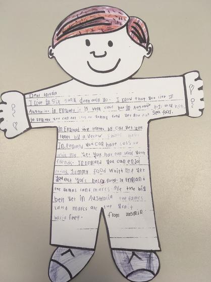 Jasmin's Flat Stanley letter to Australia
