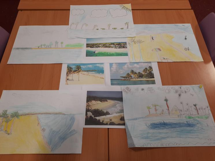 Caribbean images from their learning about 'The Windrush'.