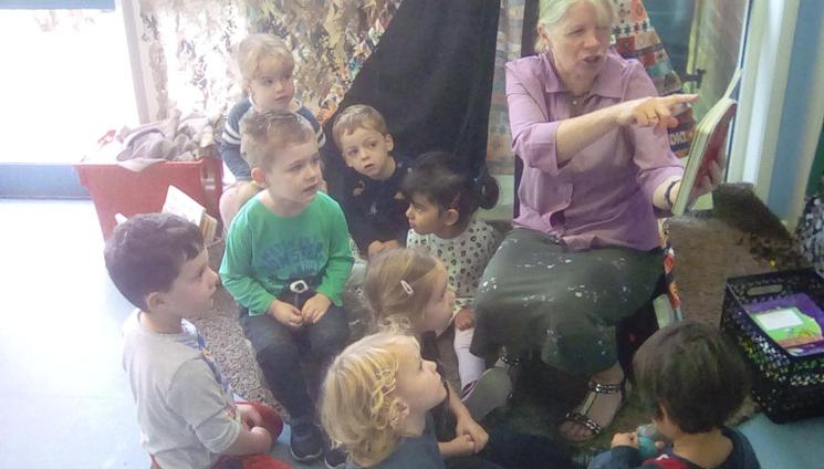 We love listening to Mrs Thompson reading us stories.