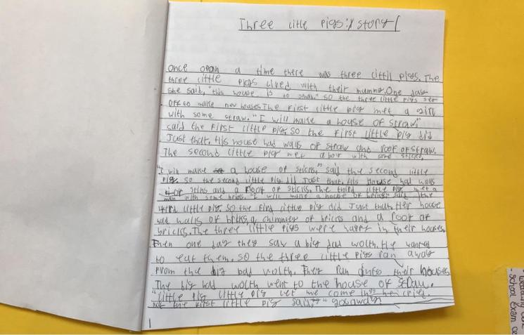 Bessie wrote this lovely story in her free time!