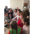Eating biscuits and mince pies!