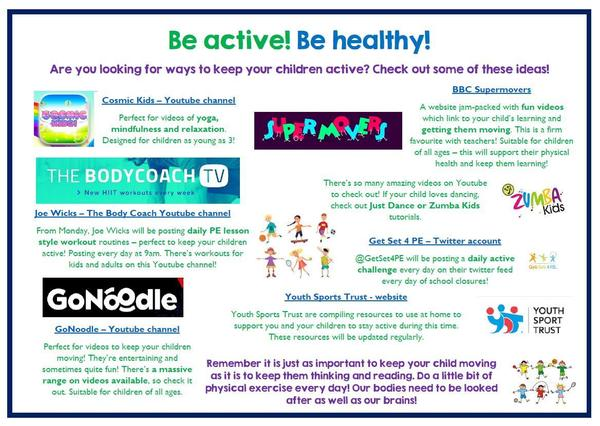 Possible activities to stay active