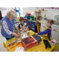 Making ladybirds with Mrs Tilbrook