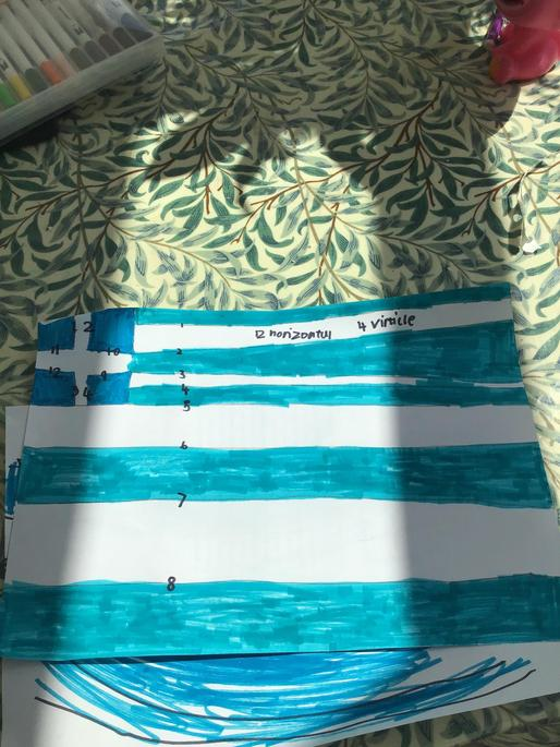 Sasha has drawn the Greek flag, and counted the parallel and perpendicular lines.