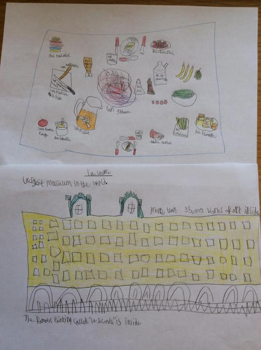 Callie (Y3) has been learning about La Louvre and labelled her French 'pique-nique'!
