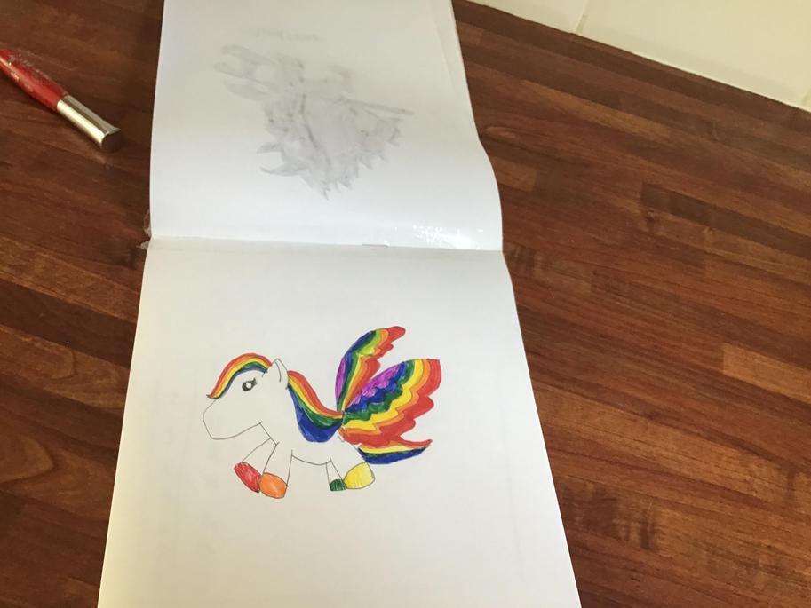Sasha followed Kid's Art Hub to draw Pegasus.