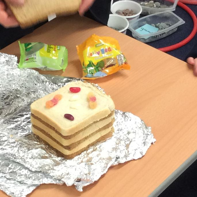 Making our own fossils. Sweets instead of animals.
