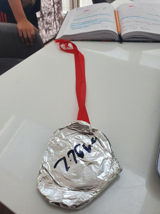 Oliver made his silver medal out of tin foil.What a great idea!