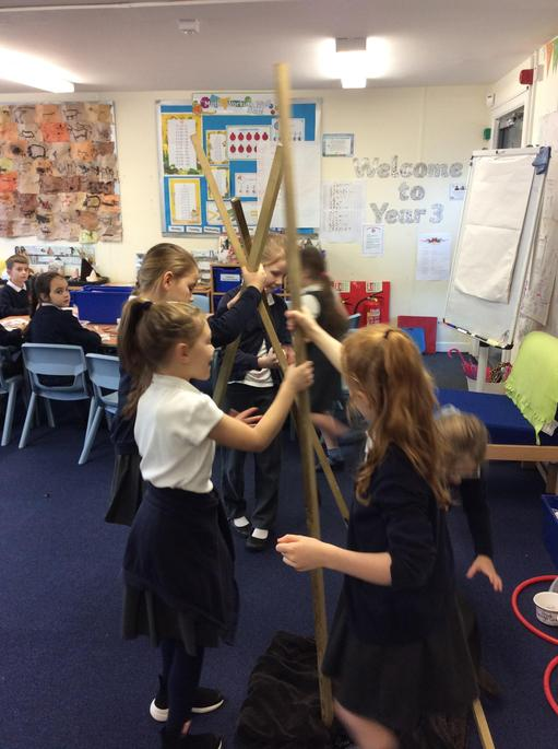 Making our own Stone Age teepee.
