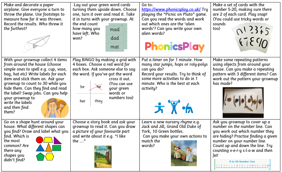 Home learning grid 27.3.2020