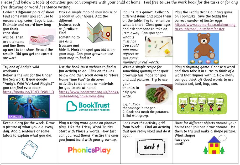 Learning grid for Friday 10th April 2020