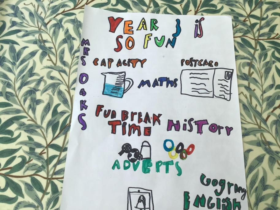 Sasha has made a poster to let the year 2 children know how great it is in year 3.