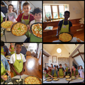 Group 2 make pizza for our tea tonight! Yum!