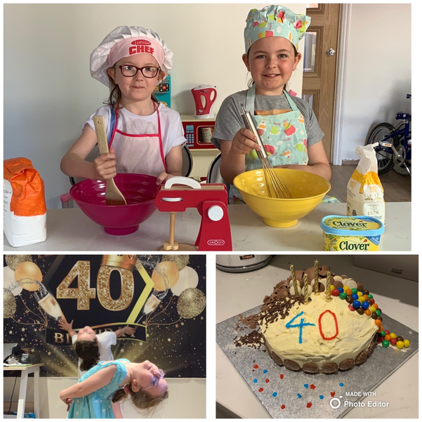 Chloe and Alanya bake for Dad's 40th Birthday!