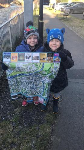 Finding the way round town using a map