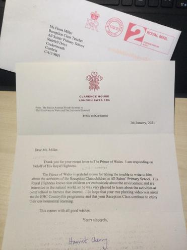 We wrote to the Prince of Wales about our environmenta work and this is the reply we got.