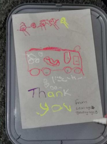 A Thank you letter to the firefighters.