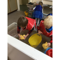 We used our hand muscles to squeeze the water into the bucket....