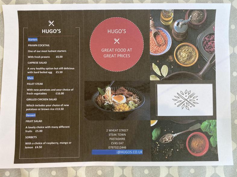 A super creative healthy menu (very professional)