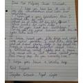 Jaydens letter to the Queen