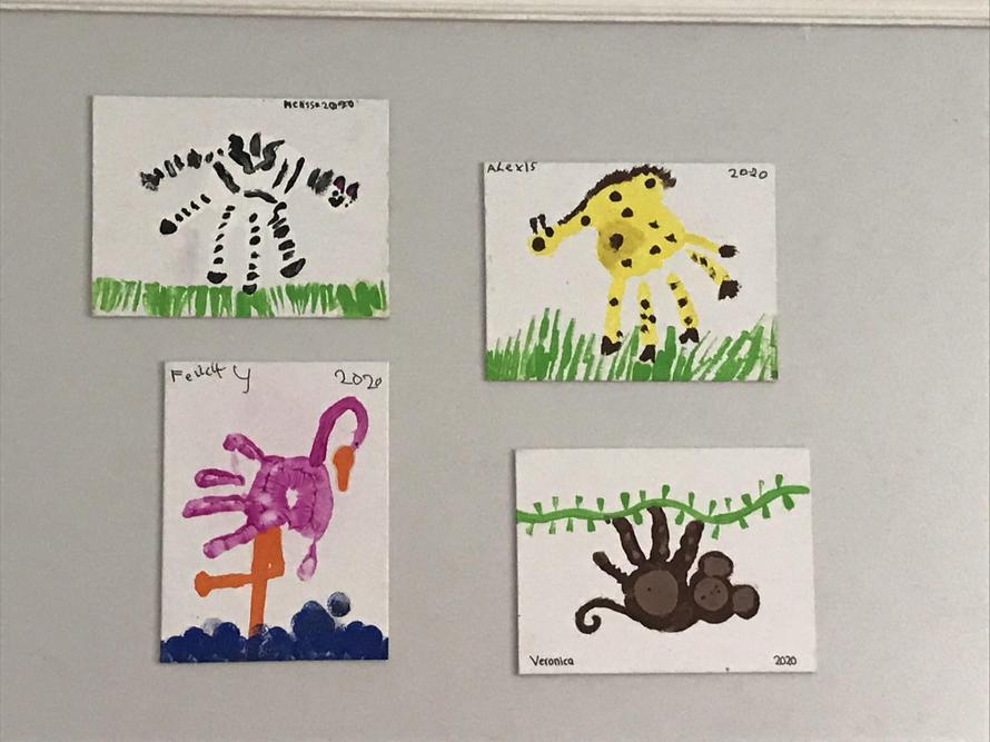 Alexis and Melissa's handprint animals