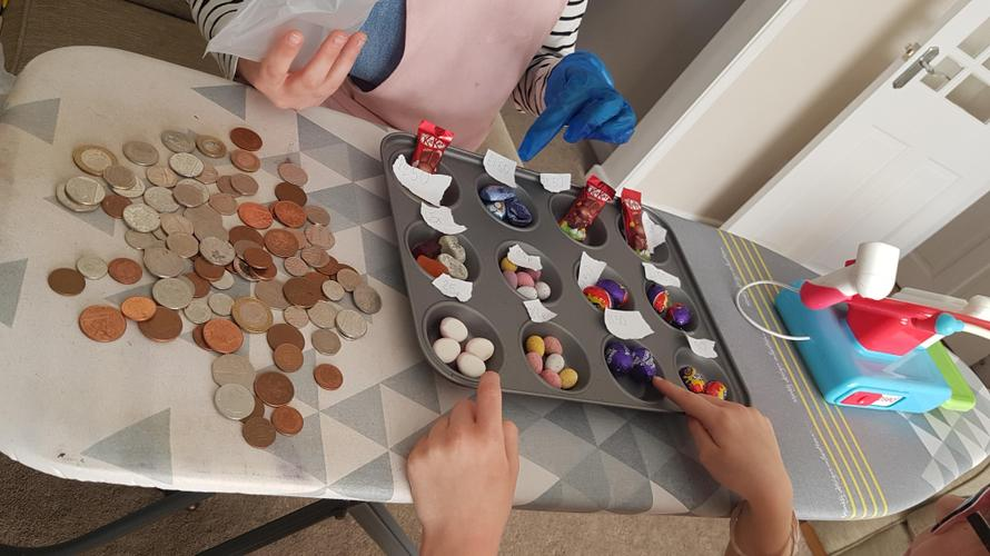 Using real money to buy sweets