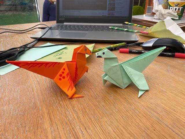 Jessica's origami dinosaurs, Oscar and Alexa
