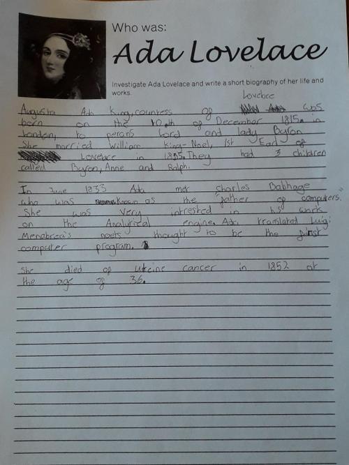 Juliet's Ada Lovelace information