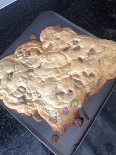 Olivia's accidental giant cookie - delicious!