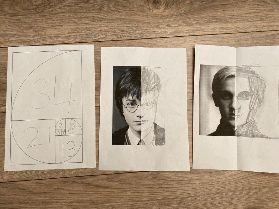 Jessica's Fibonacci art and Harry Potter art