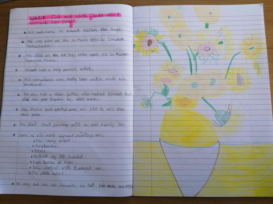 Emily's Van Gogh facts and artwork