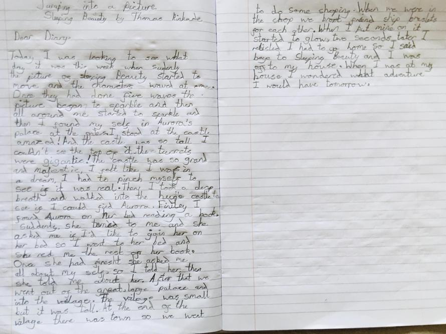 Chloe's jump into the picture diary writing
