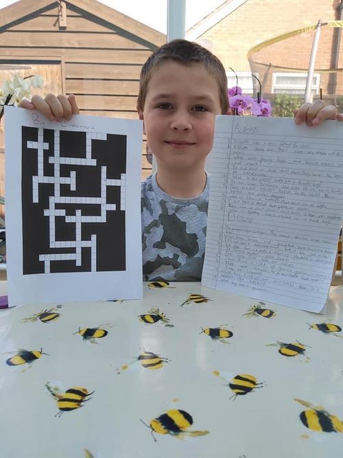 A home made bug crossword