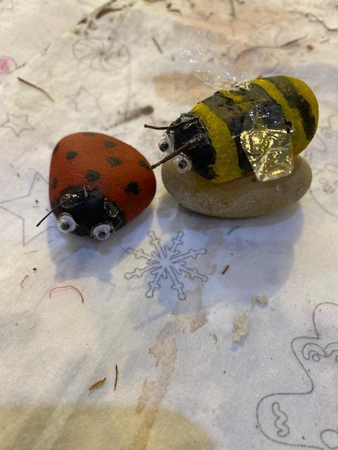 Erin's stone bug buddies for Bugtopia