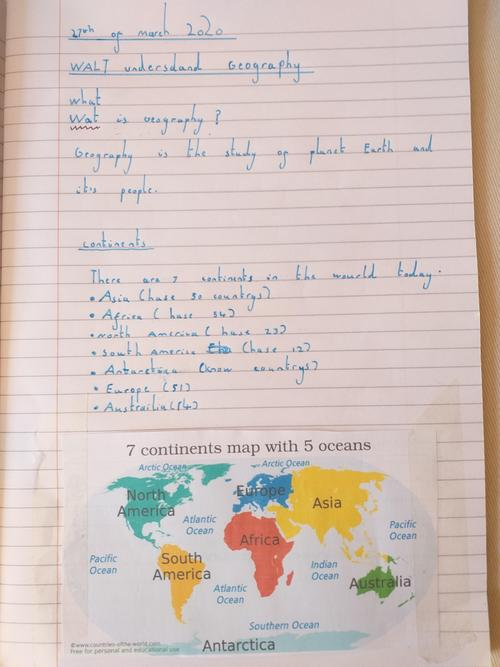 Zoe's geography work