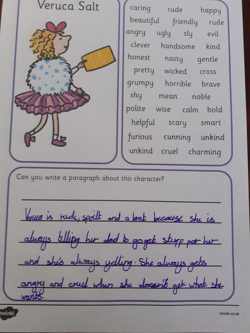 Isabelle's character profile of Veruca Salt