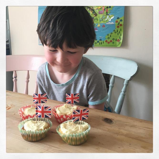 Delicious British themed cupcakes!