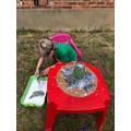 Lottie building a volcano
