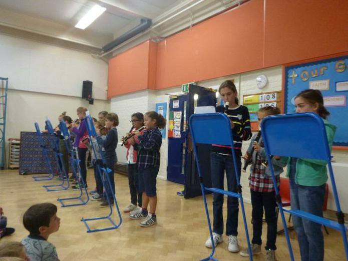 Recorder Ensemble playing in Assembly