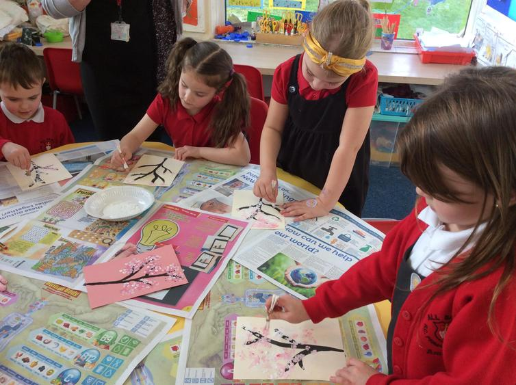 We made paintings for Chinese New Year.