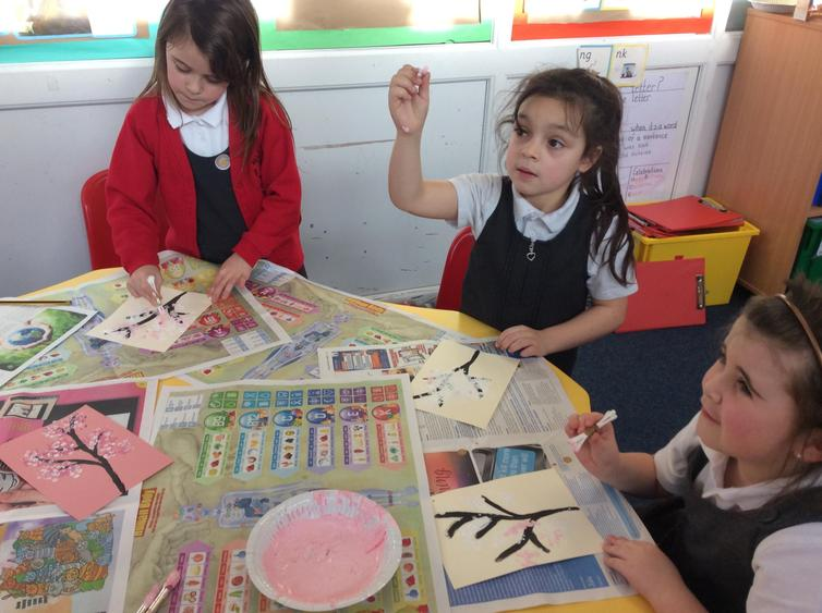 We used cotton buds for our paintings.