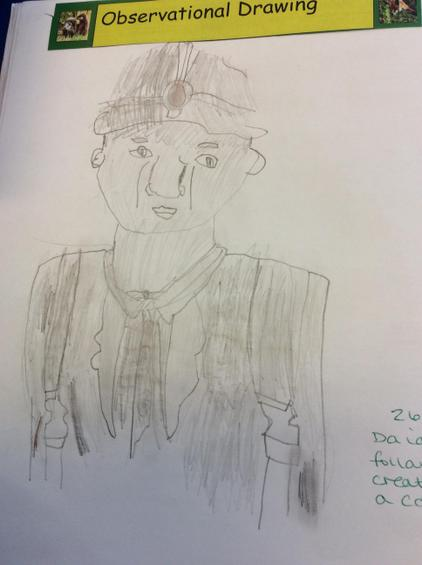 We sketched coal miners and used shading.