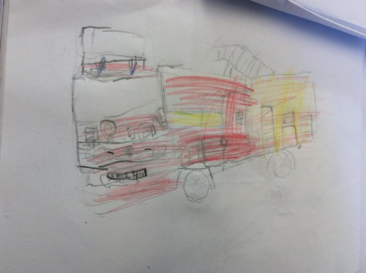 Then we researched and drew a modern fire engine.