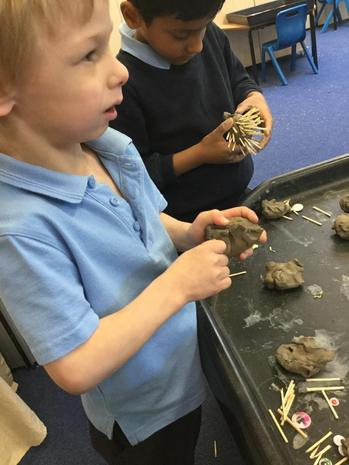 Making clay hedgehogs