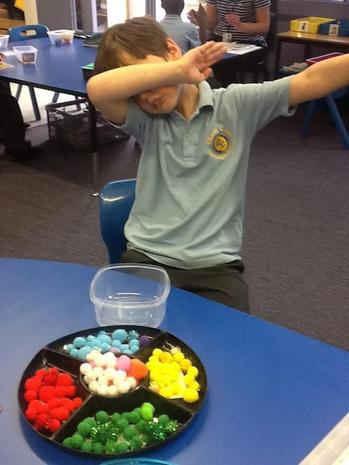 Sorting the pompoms by colour